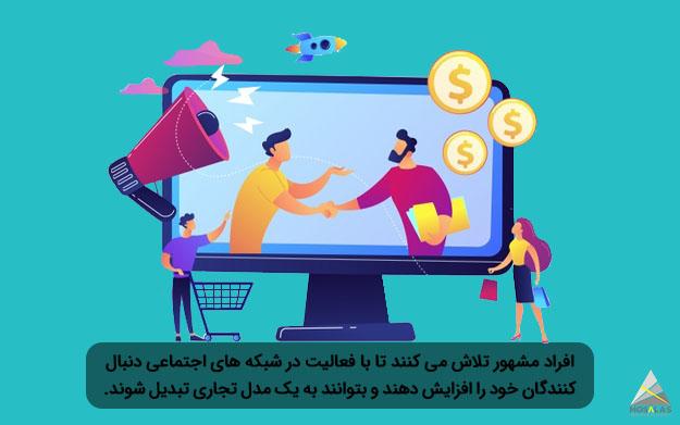 افراد مشهور تلاش می کنند تا با فعالیت در شبکه های اجتماعی دنبال کنندگان خود را افزایش داده و به یک مدل تجاری تبدیل شوند-آژانس تبلیغاتی مثلث